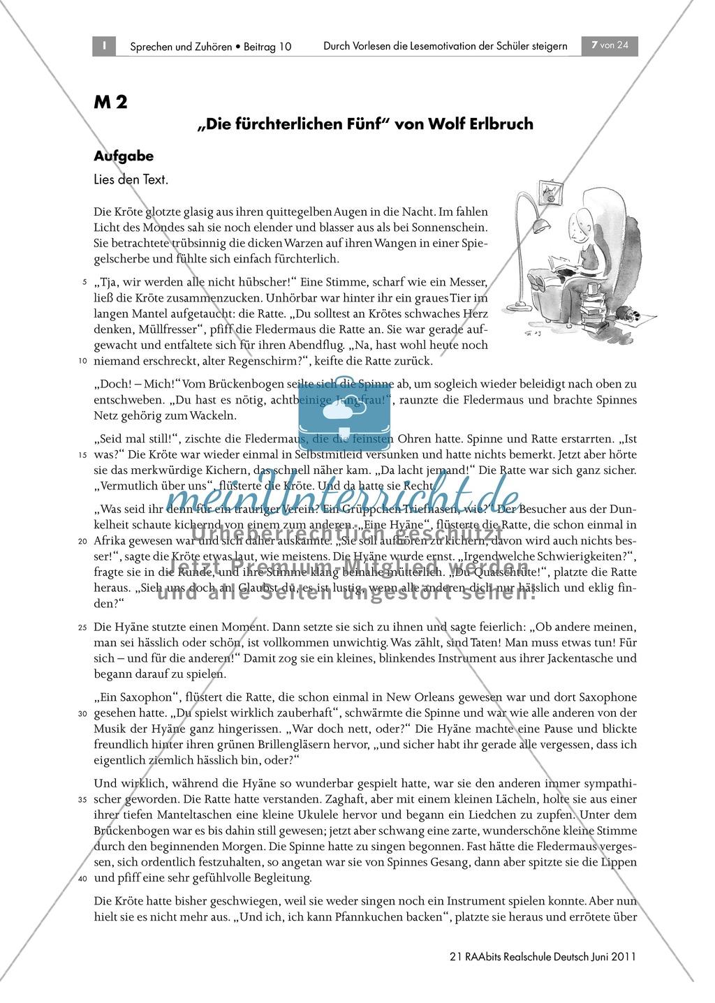 Förderung der Lesemotivation durch das Vorlesen von Geschichten anhand Wolf Erlbruchs