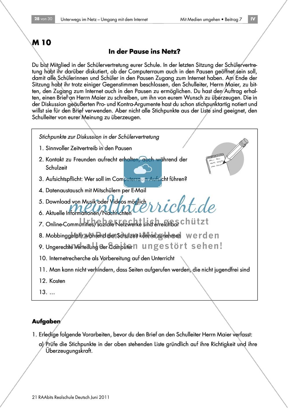 Lernerfolgskontrolle: Sicherheit im Netz - einen argumentativen Brief zum Thema Internetnutzung in den Pausen verfassen Preview 1