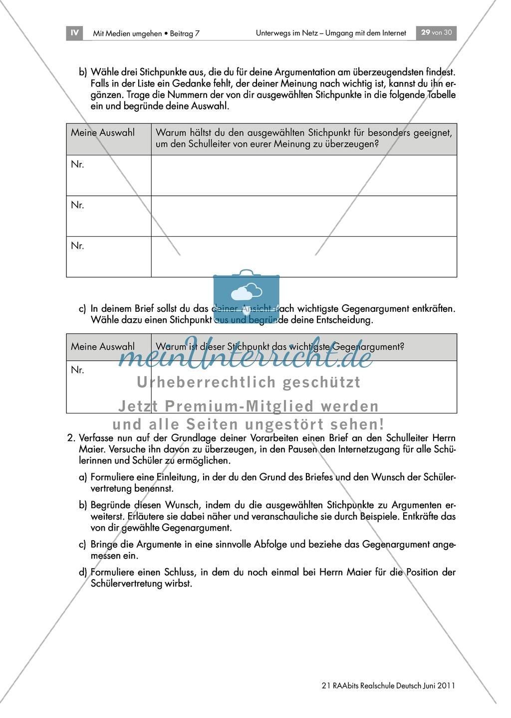 Lernerfolgskontrolle: Sicherheit im Netz - einen argumentativen Brief zum Thema Internetnutzung in den Pausen verfassen Preview 2