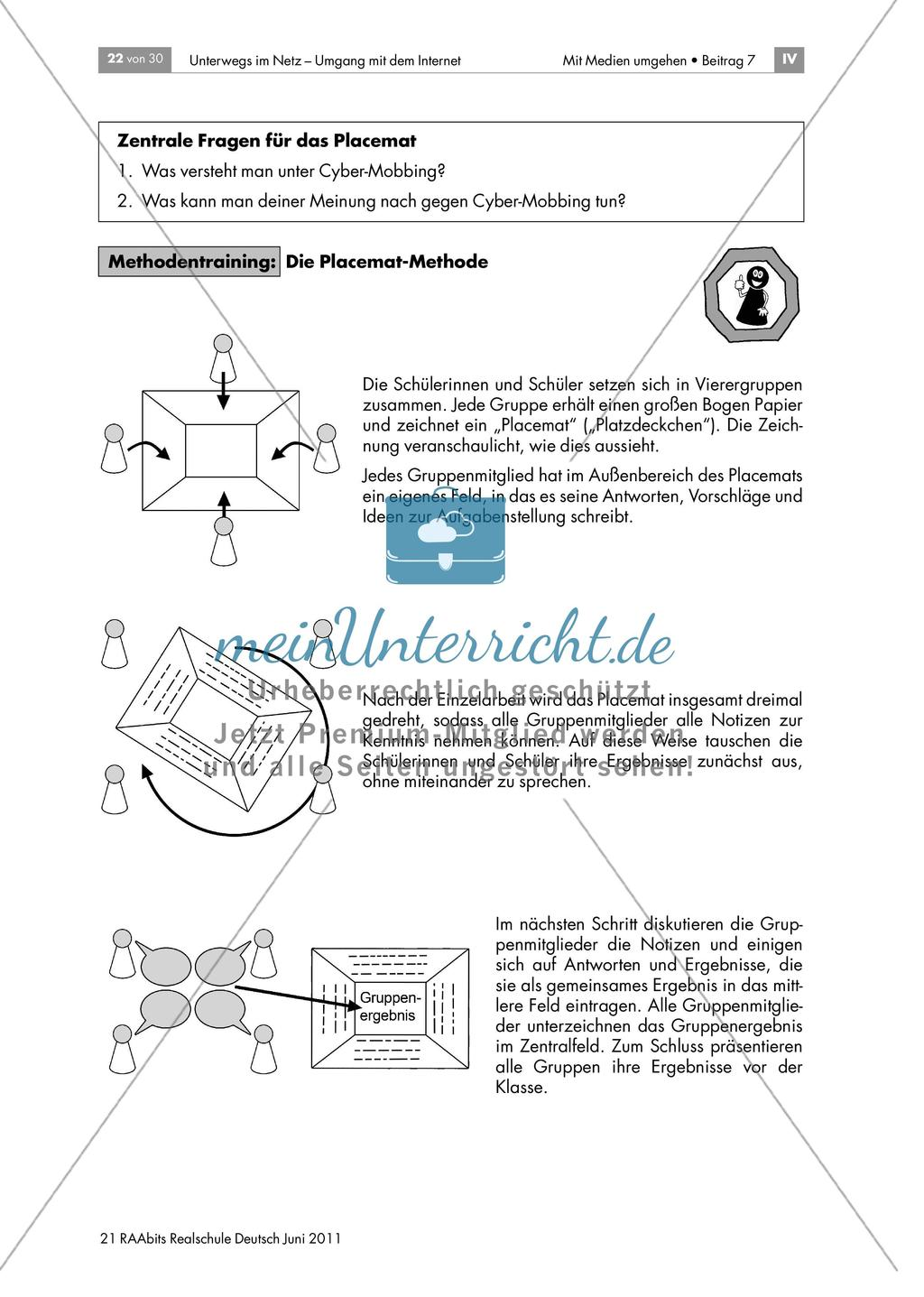 Sicherheit im Netz - Gefahren der Nutzung von Internet-Communities kennen und Strategien zum Umgang damit entwickeln anhand der Methoden Gruppenpuzzle und Placemat Preview 5
