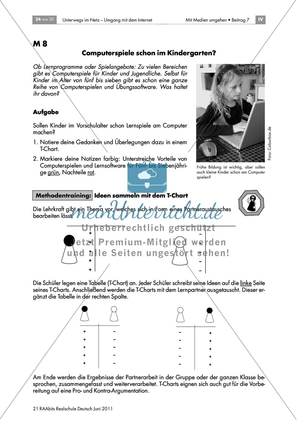 """Sicherheit im Netz - Übungen zum Thema Computerspiele und Spielsucht anhand der Methoden """"T-Chart"""" und """"Versende ein Problem"""" Preview 1"""