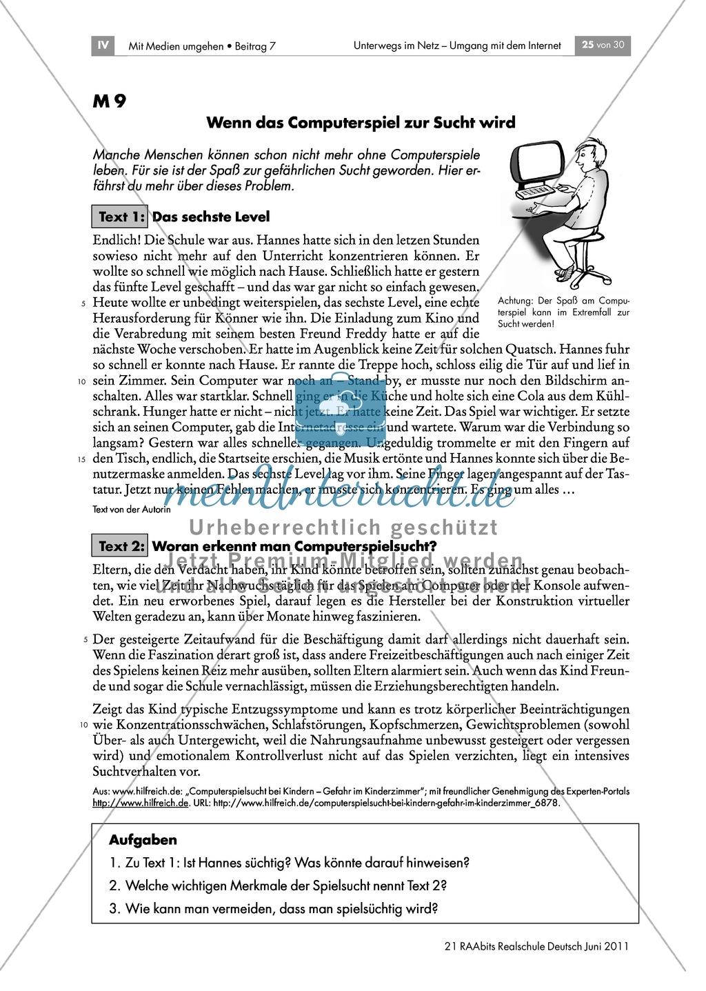 """Sicherheit im Netz - Übungen zum Thema Computerspiele und Spielsucht anhand der Methoden """"T-Chart"""" und """"Versende ein Problem"""" Preview 2"""