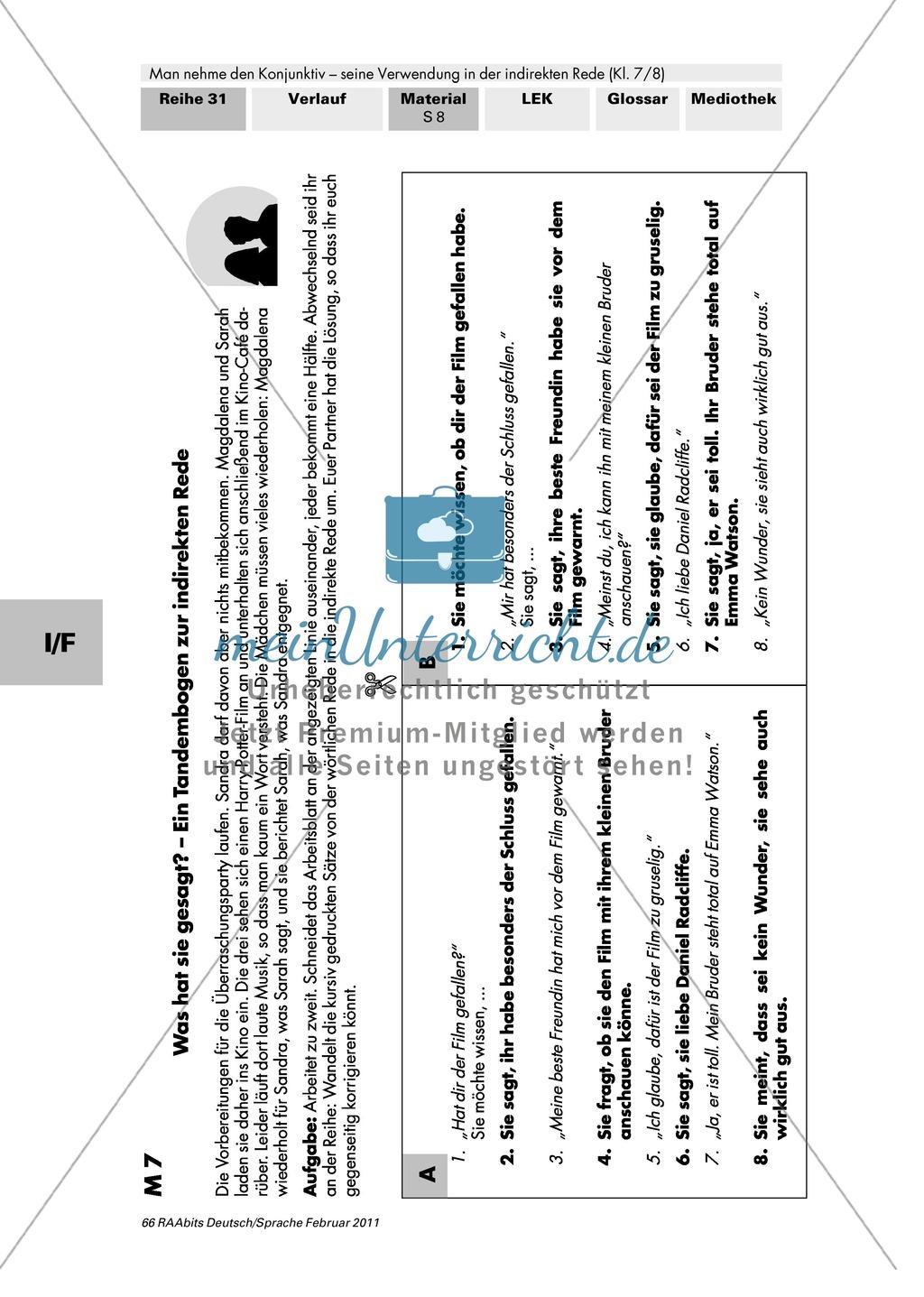 Indirekte Rede anwenden + Konjunktiv II Preview 2