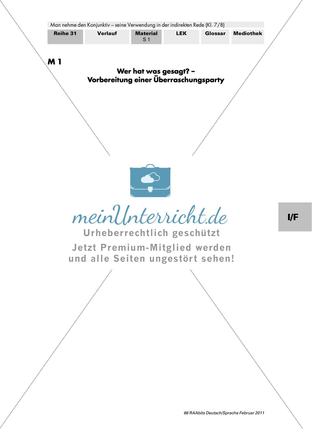 Konjunktiv I: Wörtliche und indirekte Rede + Bildung Konjunktiv I + Verben im Konjunktiv I Preview 0
