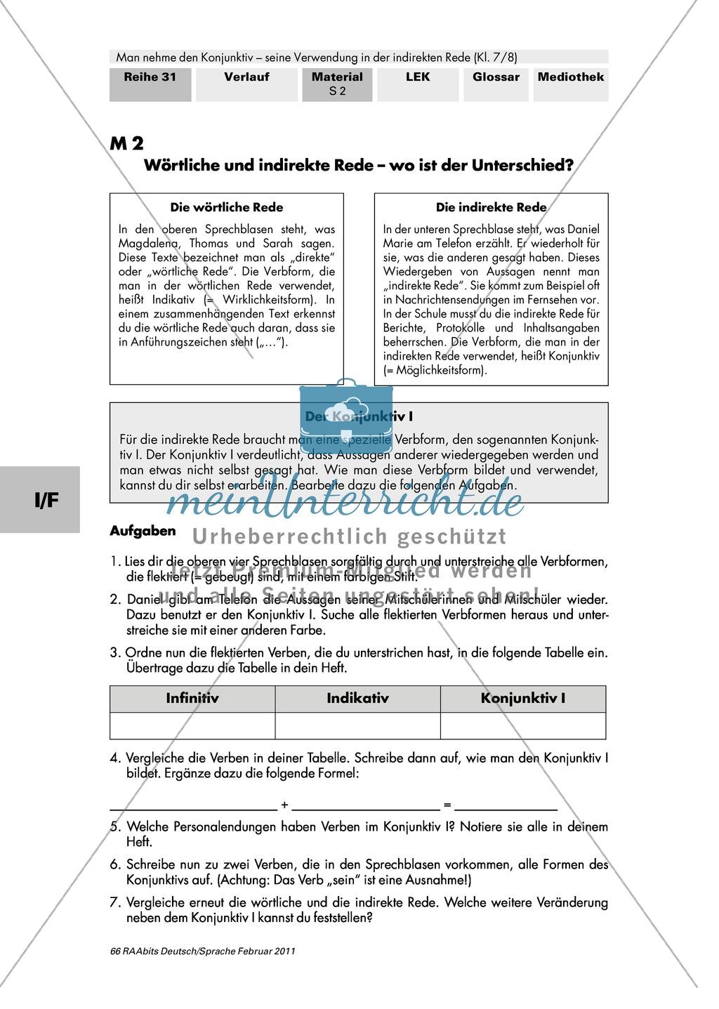Konjunktiv I: Wörtliche und indirekte Rede + Bildung Konjunktiv I + Verben im Konjunktiv I Preview 1
