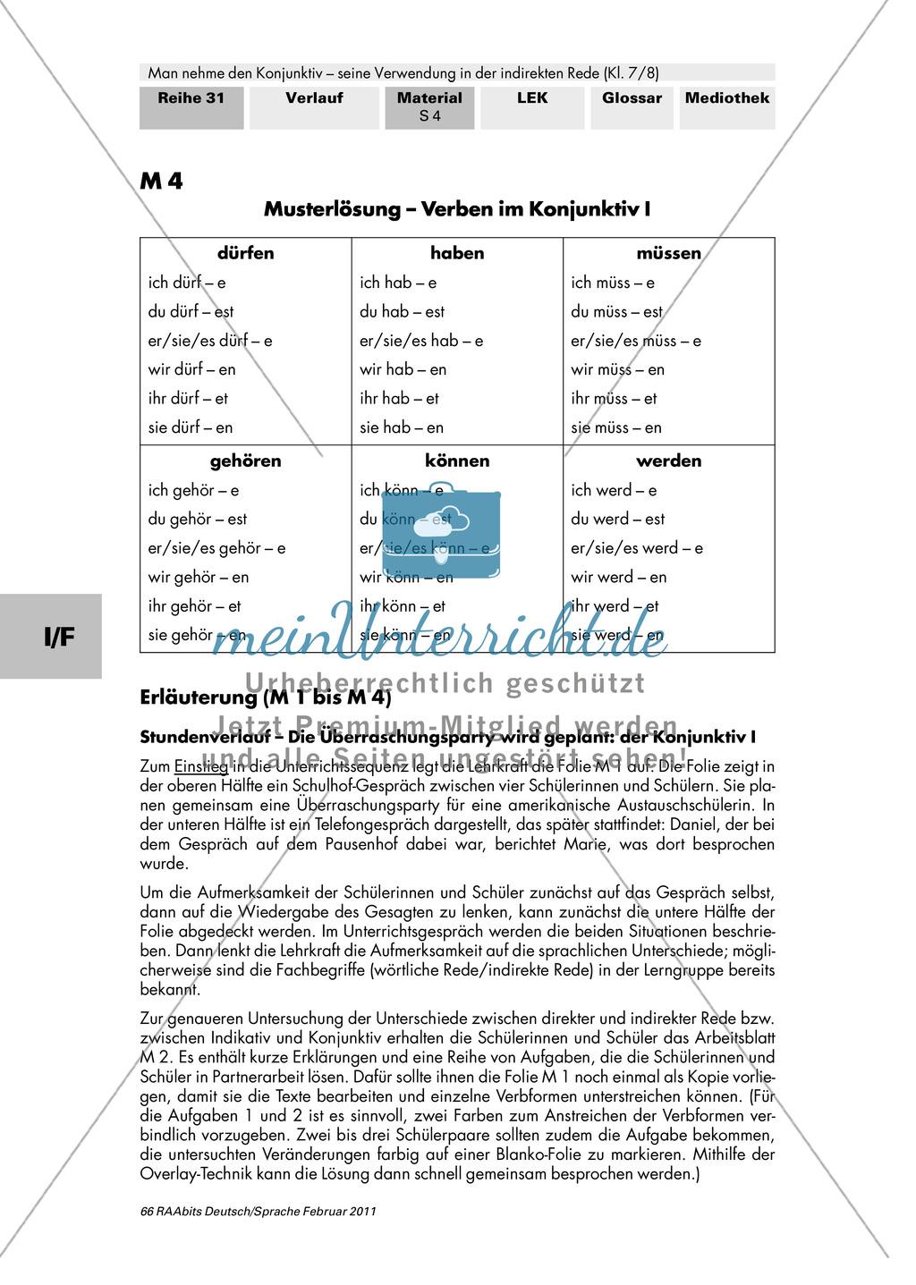 Konjunktiv I: Wörtliche und indirekte Rede + Bildung Konjunktiv I + Verben im Konjunktiv I Preview 3