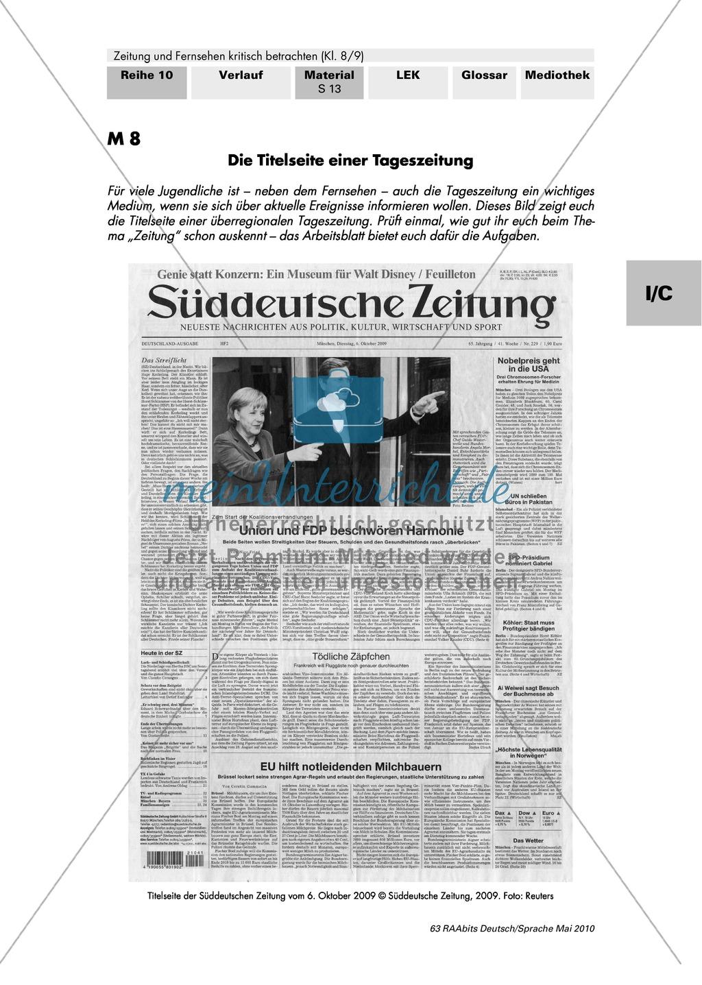 Titelseite einer Tageszeitung und Wirkung der Bilder Preview 0