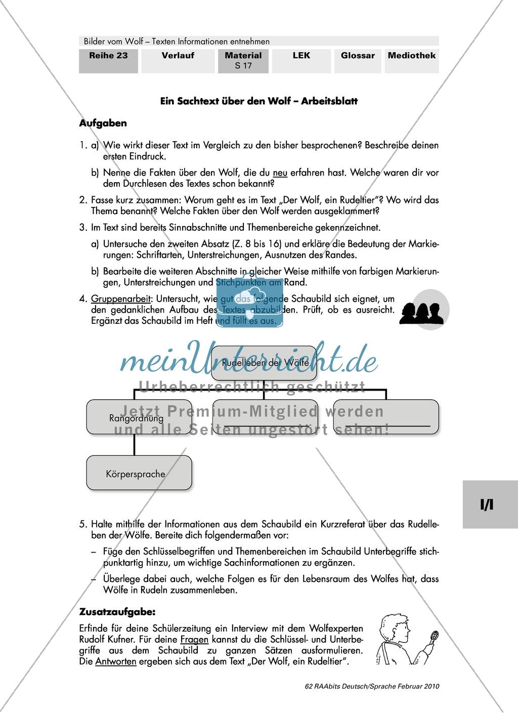 """Informationen aus einem Sachtext entnehmen am Beispiel: Rudolf Kufner: """"Der Wolf, ein Rudeltier"""" Preview 2"""