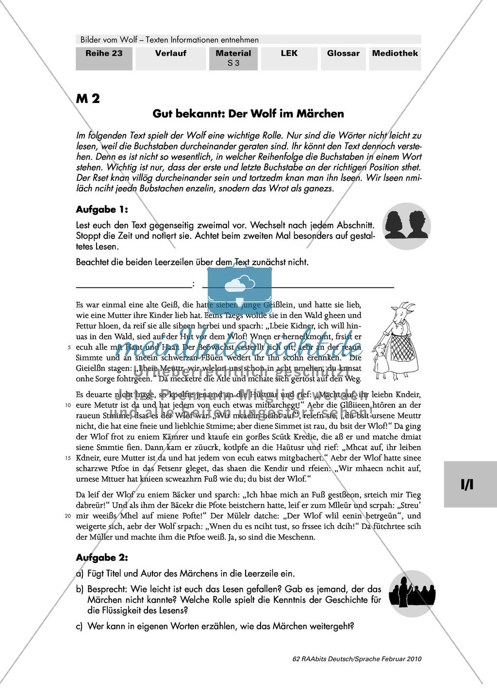 Die Rolle des Wolfes im Märchen: Farbfolie + Brüder Grimm: