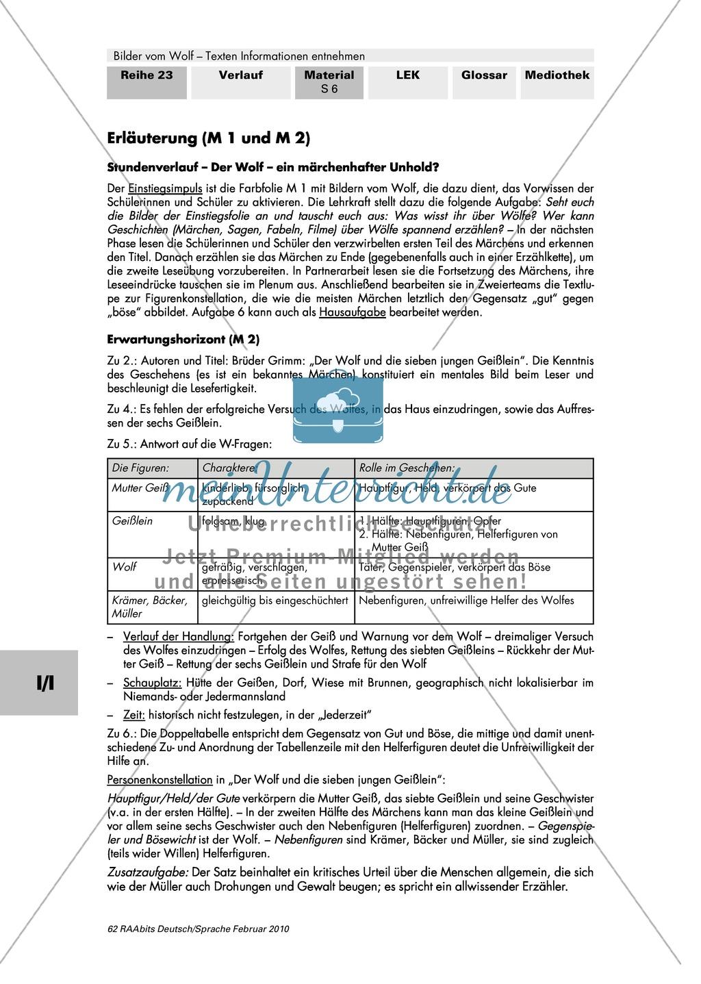 """Die Rolle des Wolfes im Märchen: Farbfolie + Brüder Grimm: """"Der Wolf und die sieben Geißlein"""" Preview 5"""