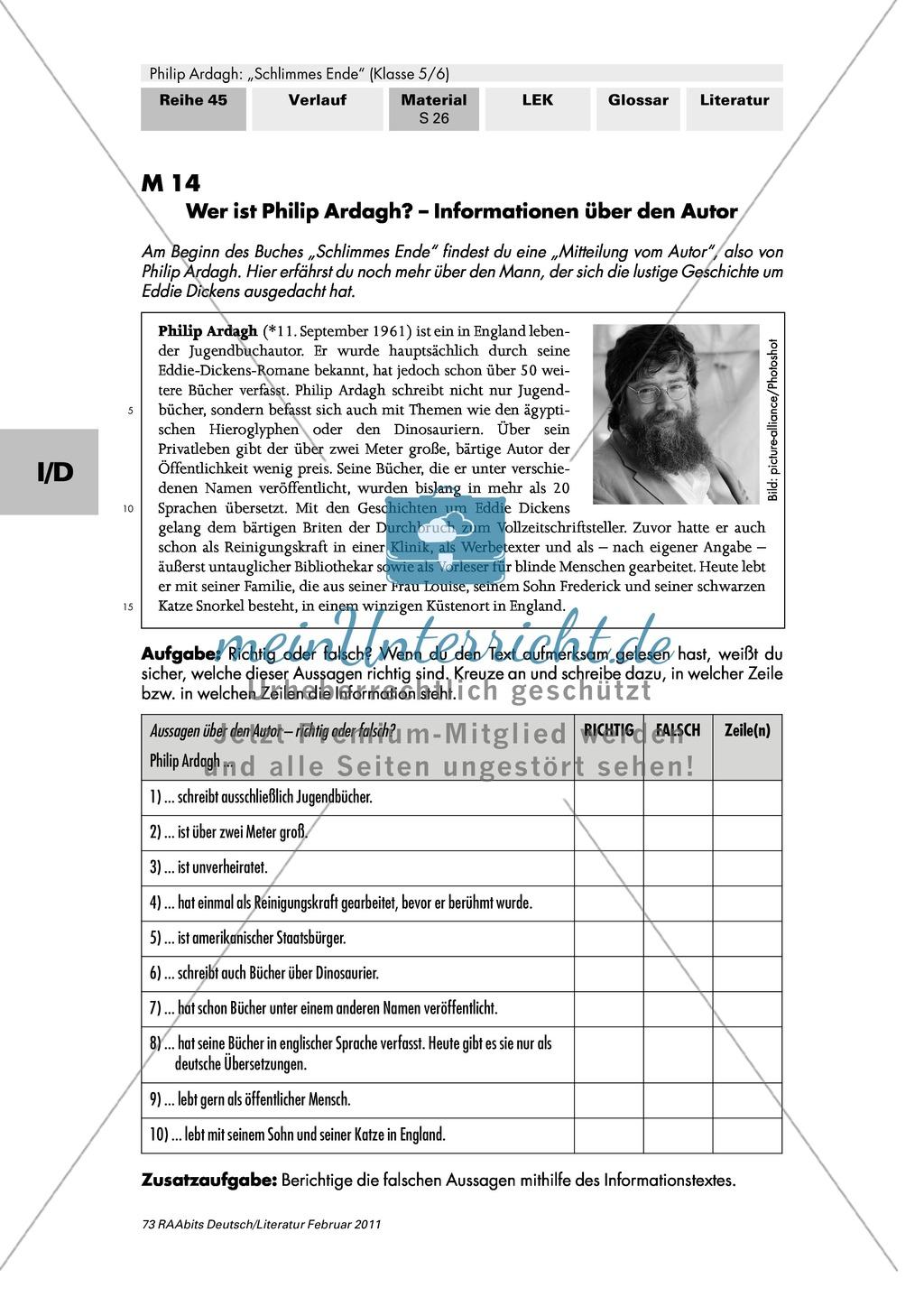 """Philip Ardagh """"Schlimmes Ende"""": Informationen über den Autor Preview 1"""