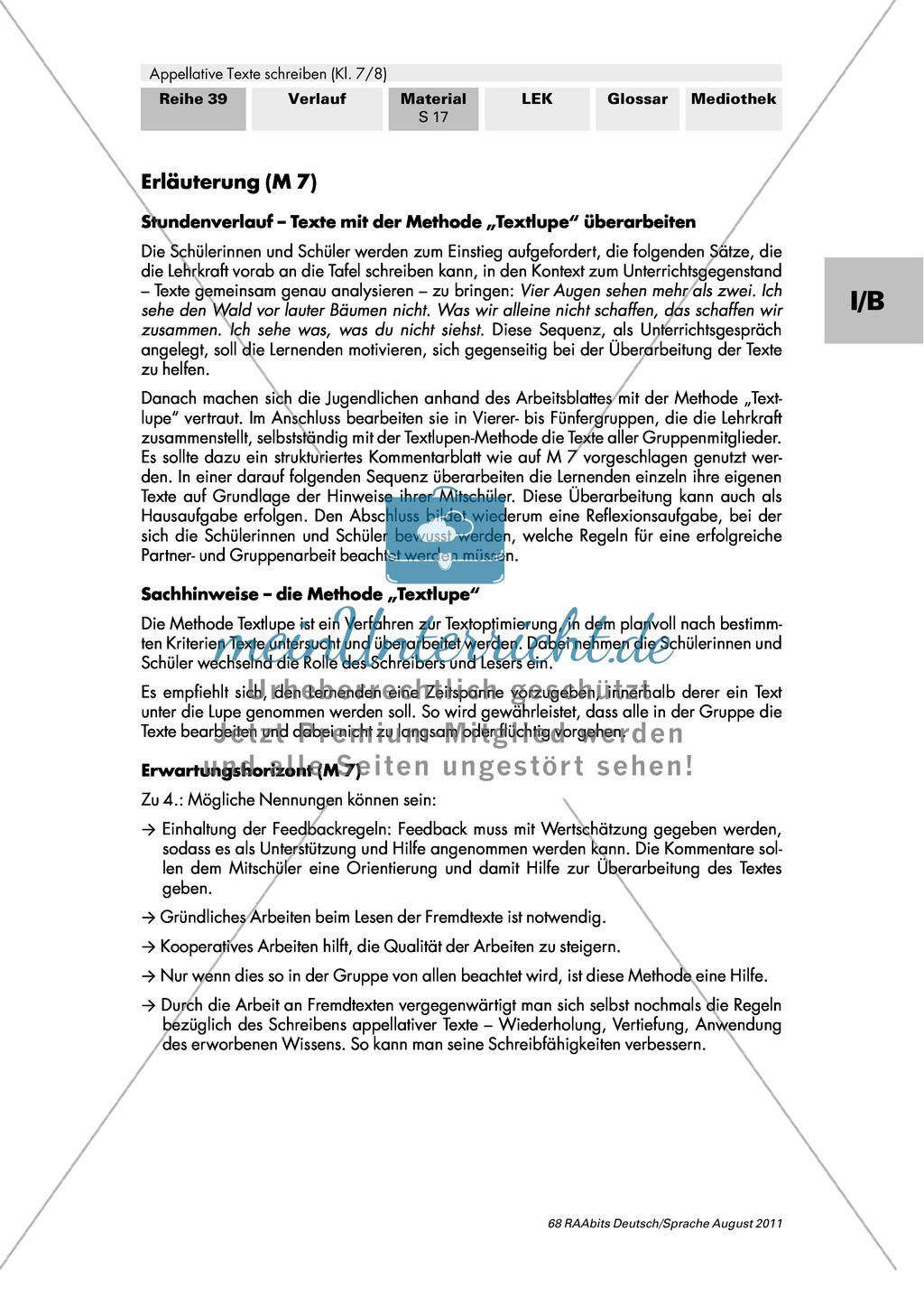 Produzierte appellative Texte gemeinschaftlich überarbeiten mithilfe der