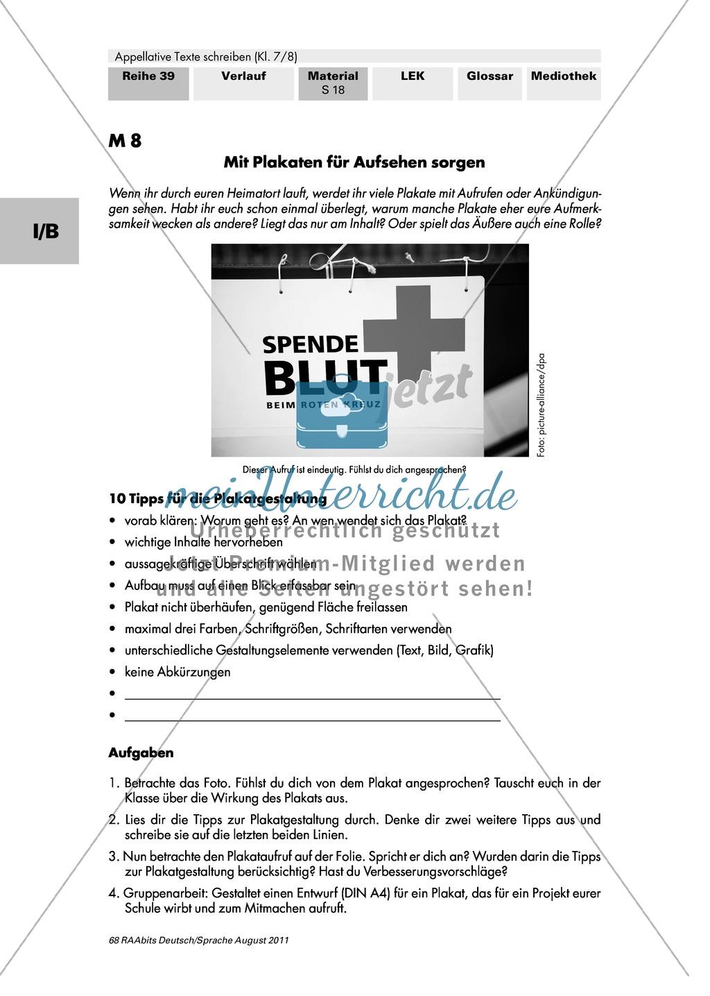 Mit Plakaten und Flyern appellative Texte unterstützen/ergänzen Preview 0