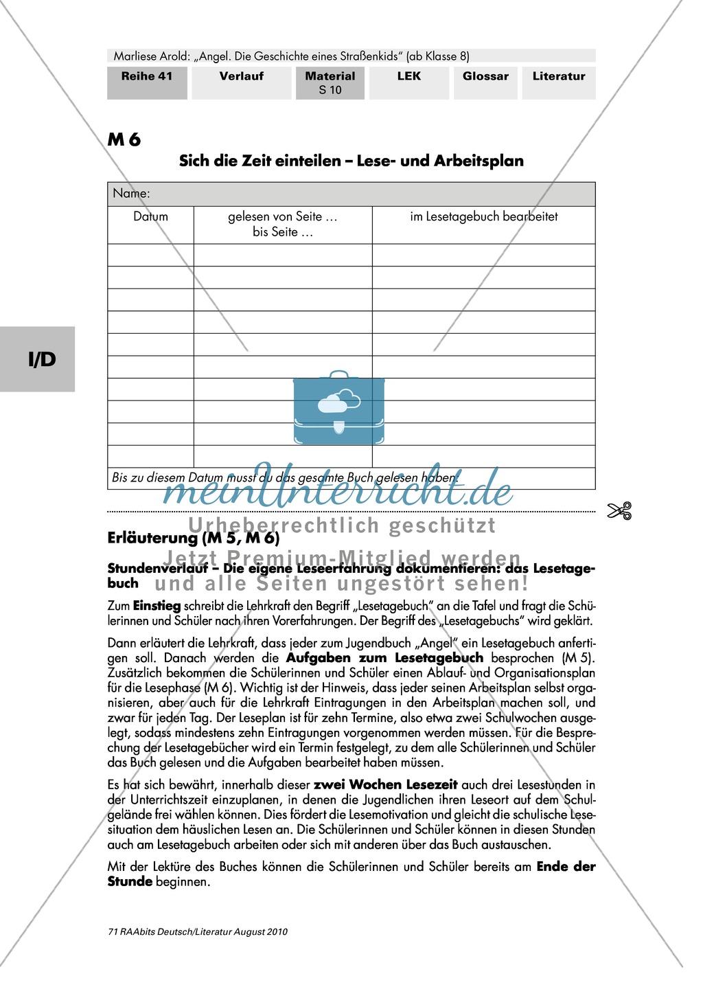 """Lesetagebuch führen zu: """"Angel. Die Geschichte eines Straßenkids"""" + Lese- und Arbeitsplan Preview 2"""
