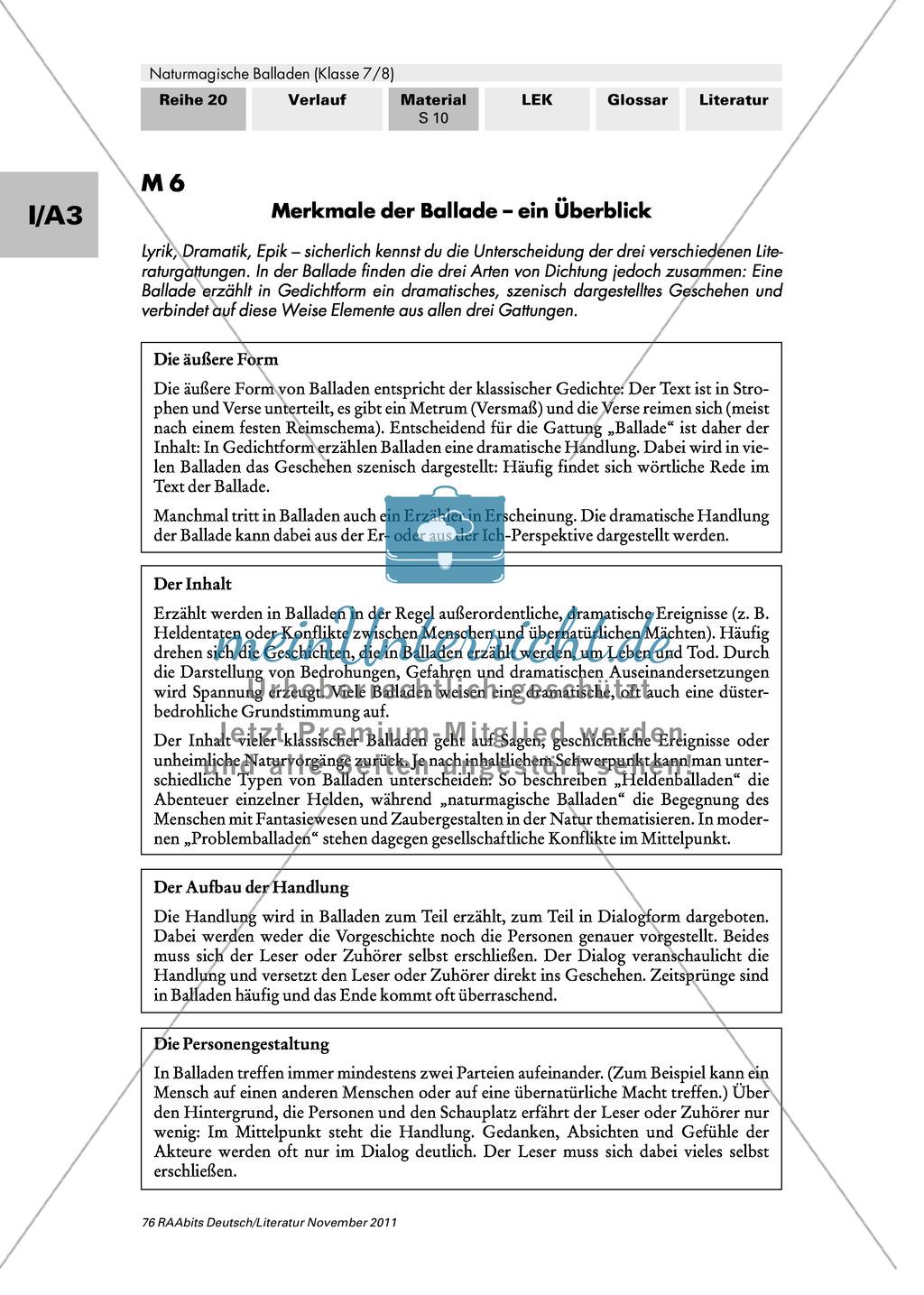 Merkmale von Balladen erarbeiten. Mit Infotext und Tabelle zum ausfüllen. Preview 0