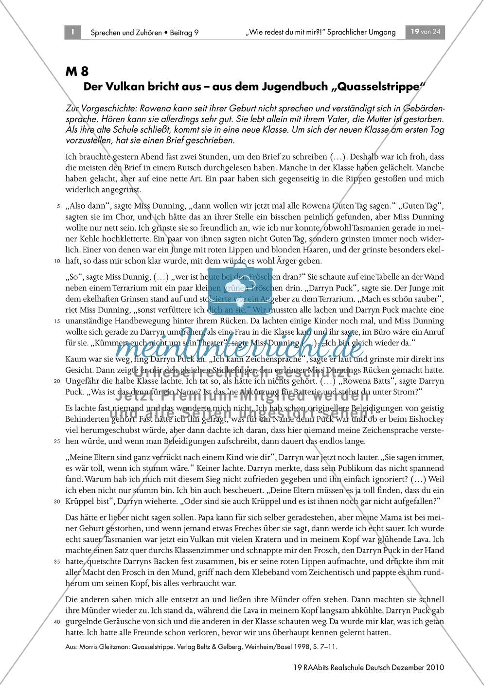 """Konflikte sprachlich lösen am Beispiel des Jugendbuchs """"Quasselstrippe"""" Preview 1"""