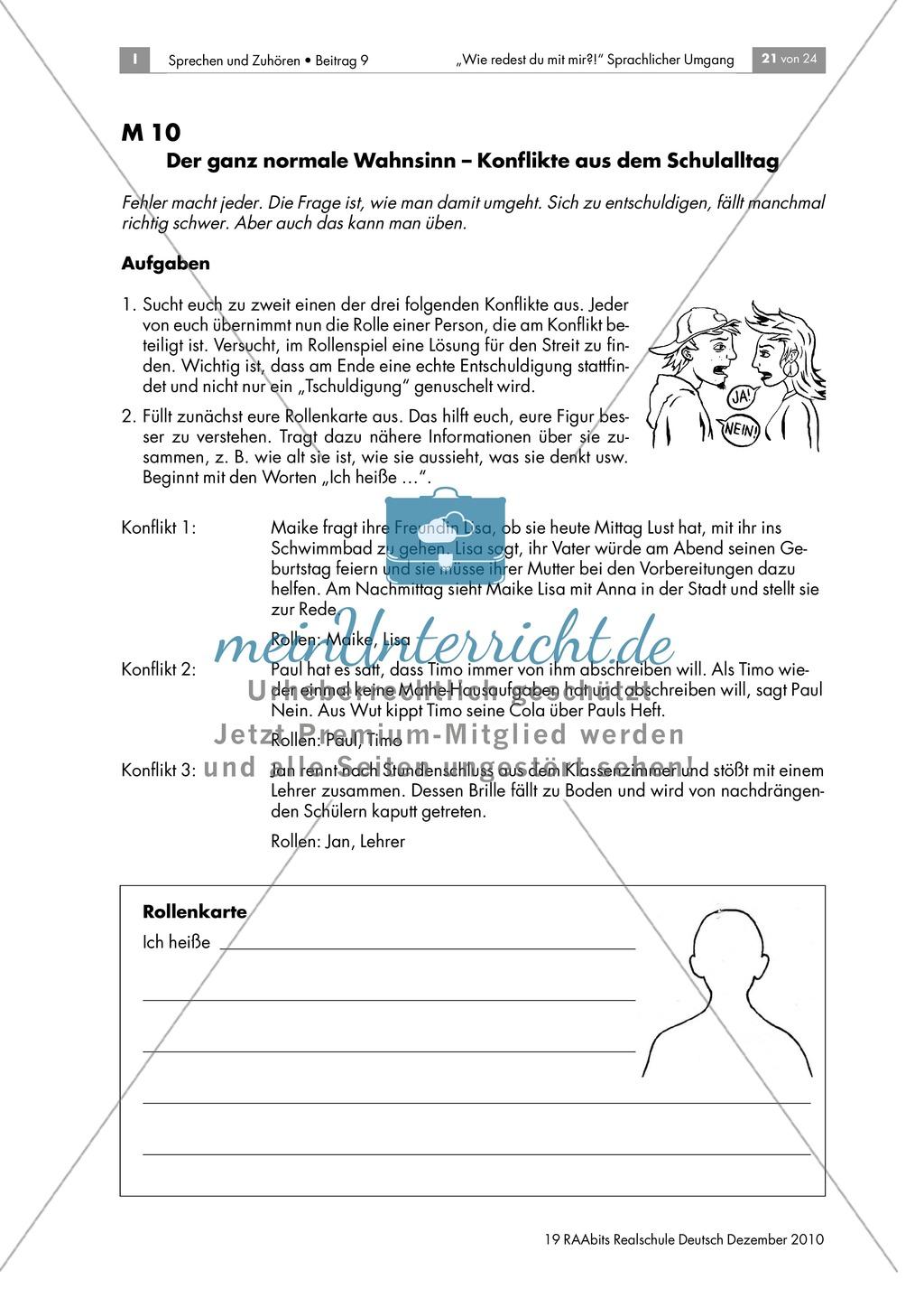 Konflikte sprachlich lösen am Beispiel des Jugendbuchs