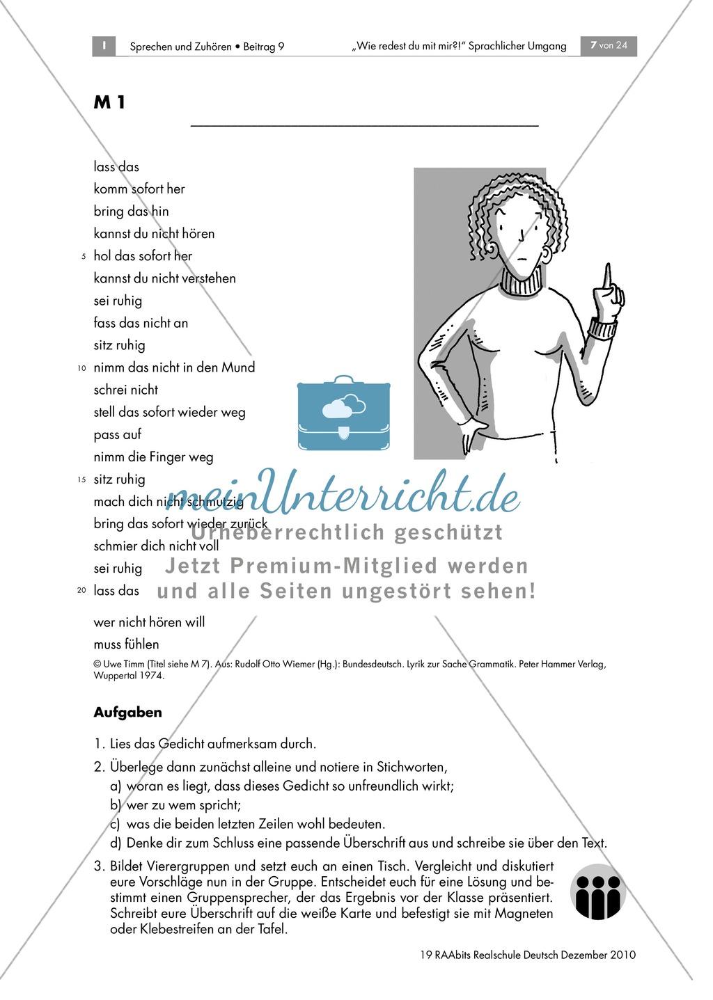 Den Imperativ anhand eines Gedichts zum Thema Erziehung kennen lernen Preview 0