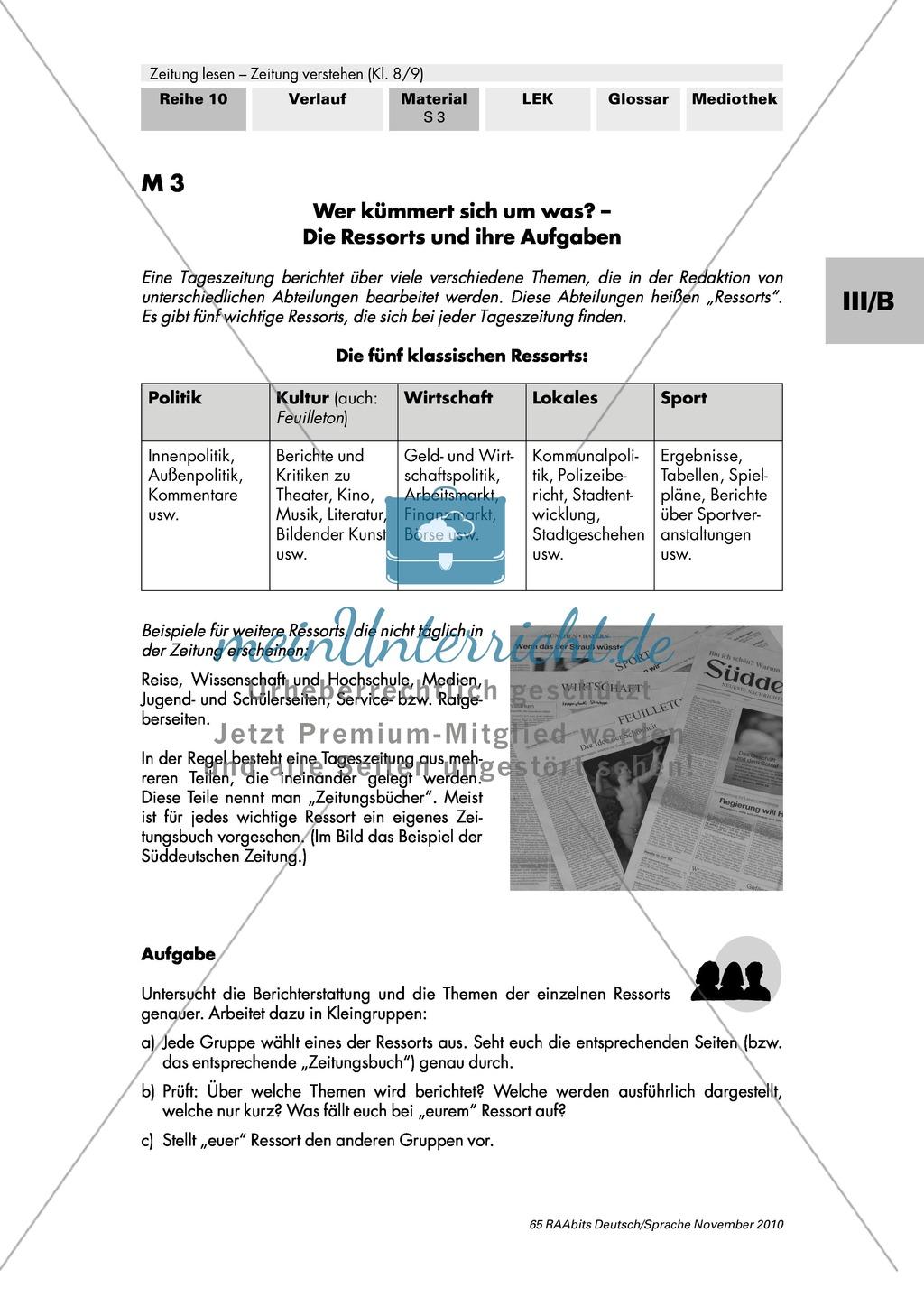 Wie arbeitet ein Zeitungsverlag? Tageszeitungen in Deutschland, Aufbau eines Verlags und die Einteilung in Ressorts Preview 3