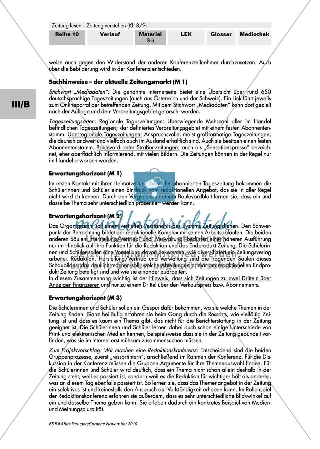 Wie arbeitet ein Zeitungsverlag? Tageszeitungen in Deutschland, Aufbau eines Verlags und die Einteilung in Ressorts Preview 6