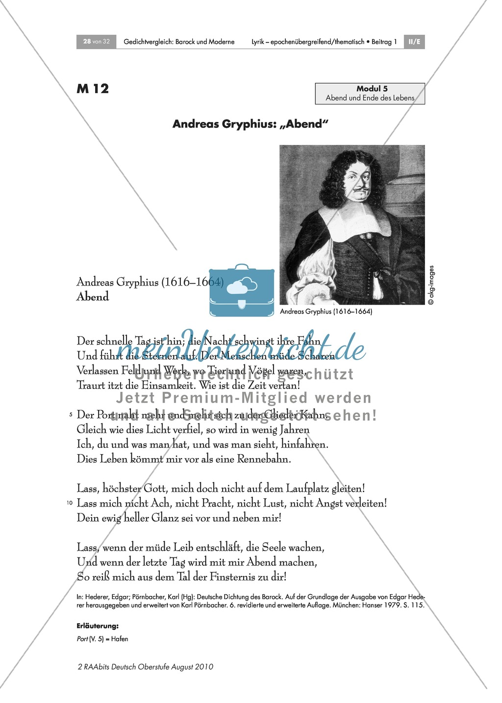 "Gedicht: Andreas Gryphius: ""Abend"" Preview 1"