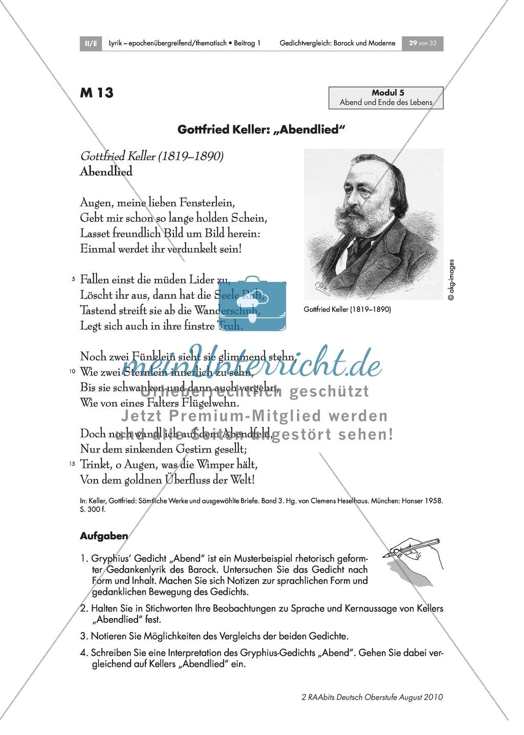 Gedichtvergleich barocker Gedichte mit moderner Lyrik: Abend: Ende der Lebensreise: Andreas Gryphius: