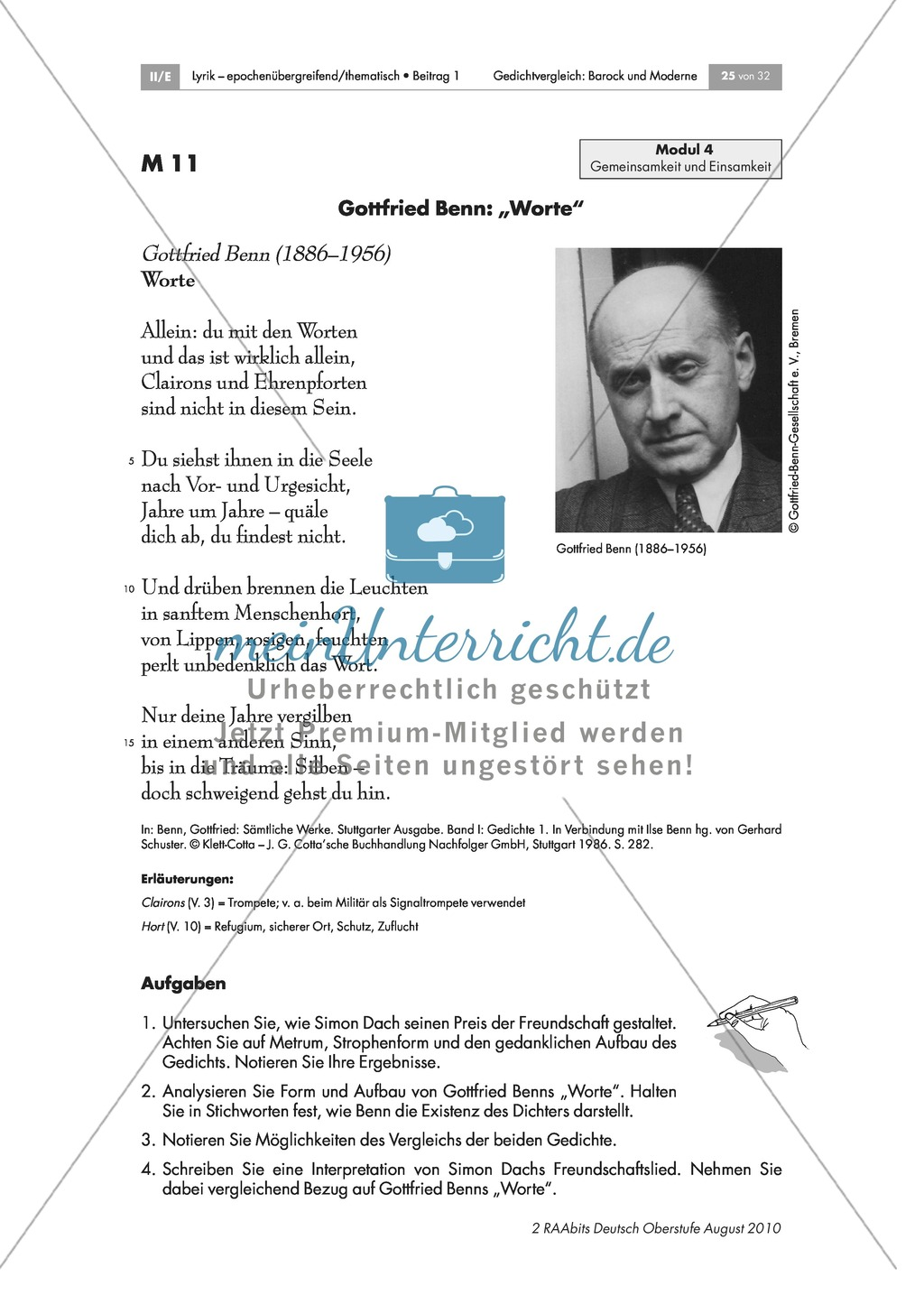 "Gedicht: Gottfried Benn: ""Worte"" Preview 1"