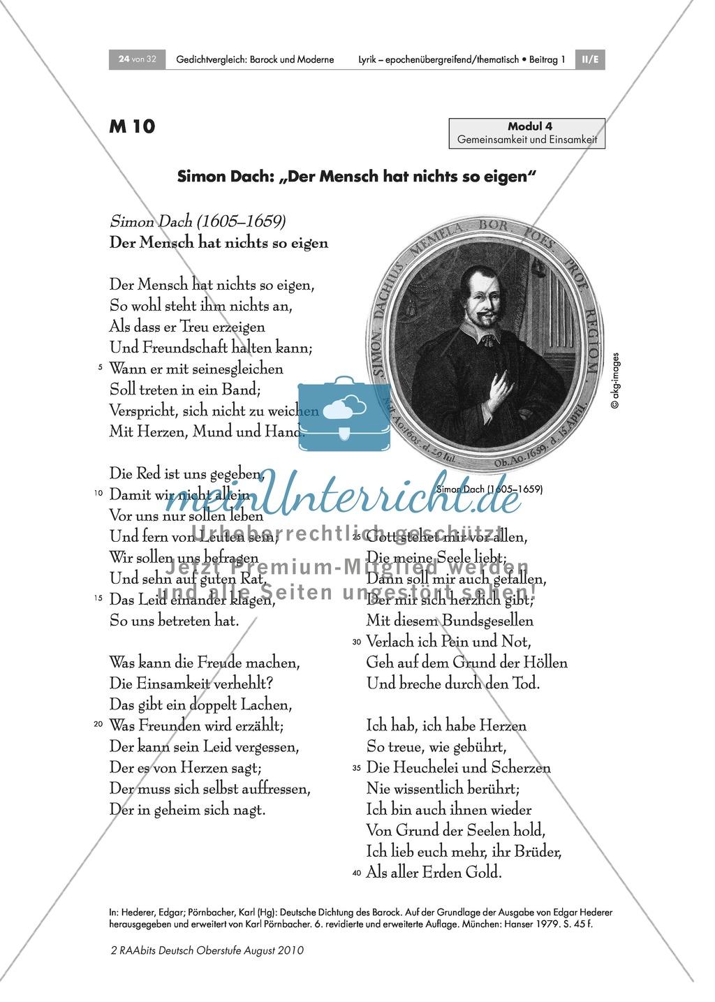 Gedichtvergleich barocker Gedichte mit moderner Lyrik: Freundschaft: Gemeinsamkeit und Einsamkeit: Simon Dach: