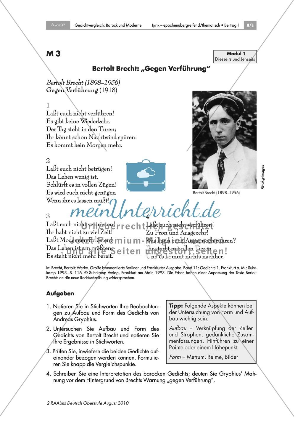 Gedichtvergleich barocker Gedichte mit moderner Lyrik: Gegen Verführung: Diesseits und Jenseits: Bilder zu Dreißigjährigem Krieg + Andreas Gryphius: