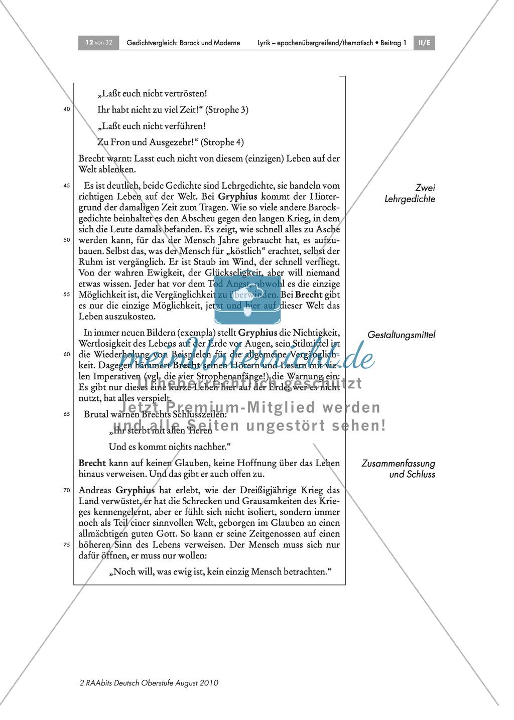 """Gedichtvergleich barocker Gedichte mit moderner Lyrik: Gegen Verführung: Diesseits und Jenseits: Bilder zu Dreißigjährigem Krieg + Andreas Gryphius: """"Es ist alles eitel"""" + Bertolt Brecht: """"Gegen Verführung"""" + Gedichtvergleich + Gliederung des Aufsatzes: Z Preview 7"""