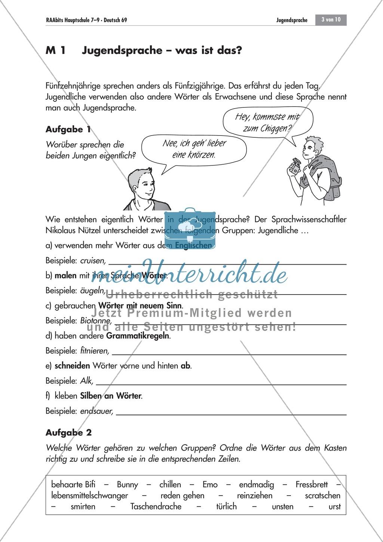 Arbeitsblätter Deutsch Jugendsprache : Was ist jugendsprache meinunterricht