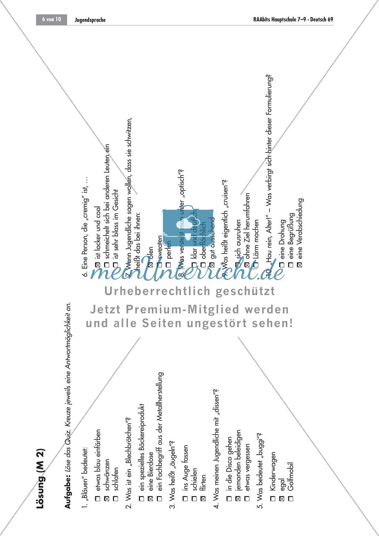 Arbeitsblätter Deutsch Jugendsprache : Ein quiz zur jugendsprache meinunterricht