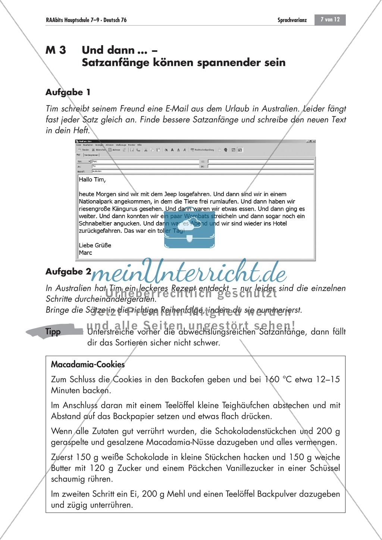 Satzanfänge abwechslungsreich gestalten Preview 1