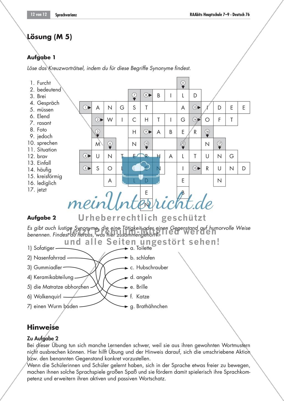 Kreuzworträtsel zu Synonymen Preview 1