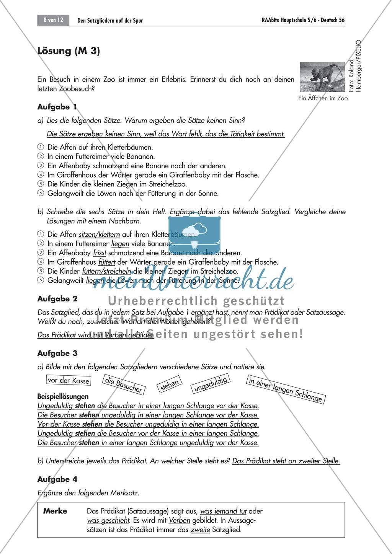 Das Pru00e4dikat: unvollstu00e4ndige Su00e4tze ergu00e4nzen + Bestimmungsfrage - meinUnterricht.de