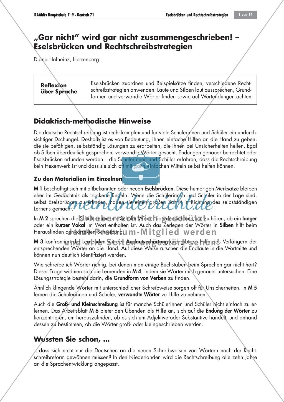 Eselsbrücken und Rechtschreibstrategien Preview 0