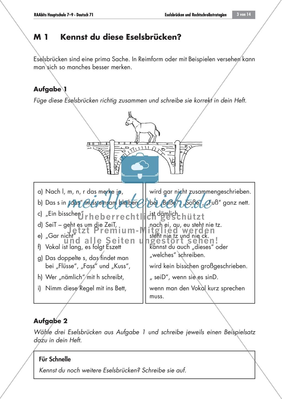 Eselsbrücken und Rechtschreibstrategien Preview 2