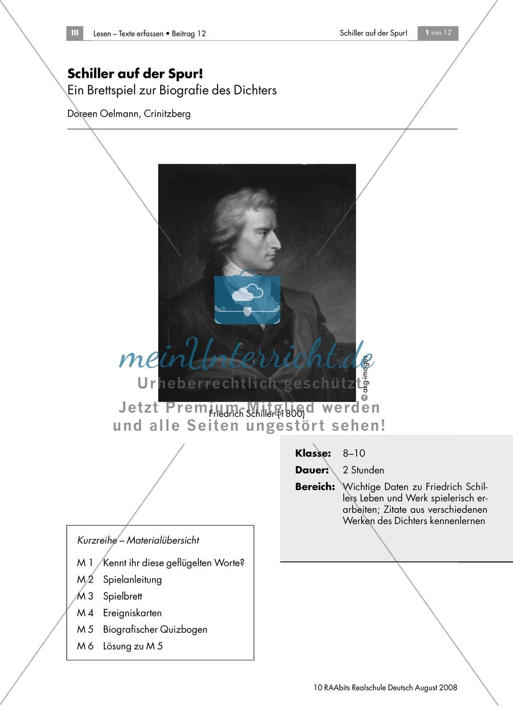 Schiller auf der Spur: Ein Brettspiel zur Biografie des Dichters Preview 0