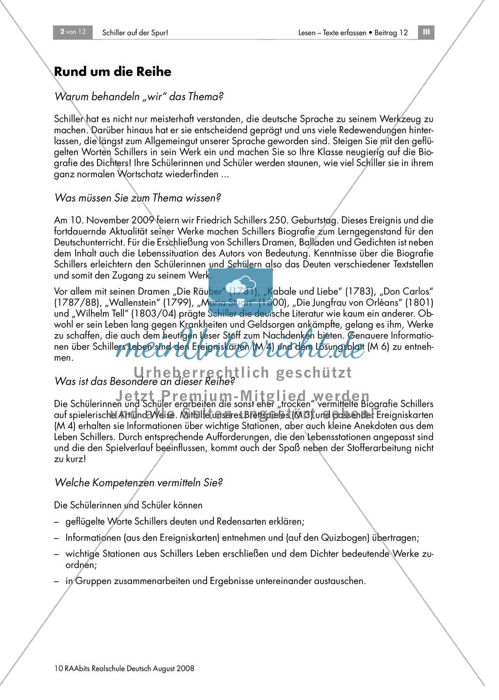Schiller auf der Spur: Ein Brettspiel zur Biografie des Dichters Preview 1