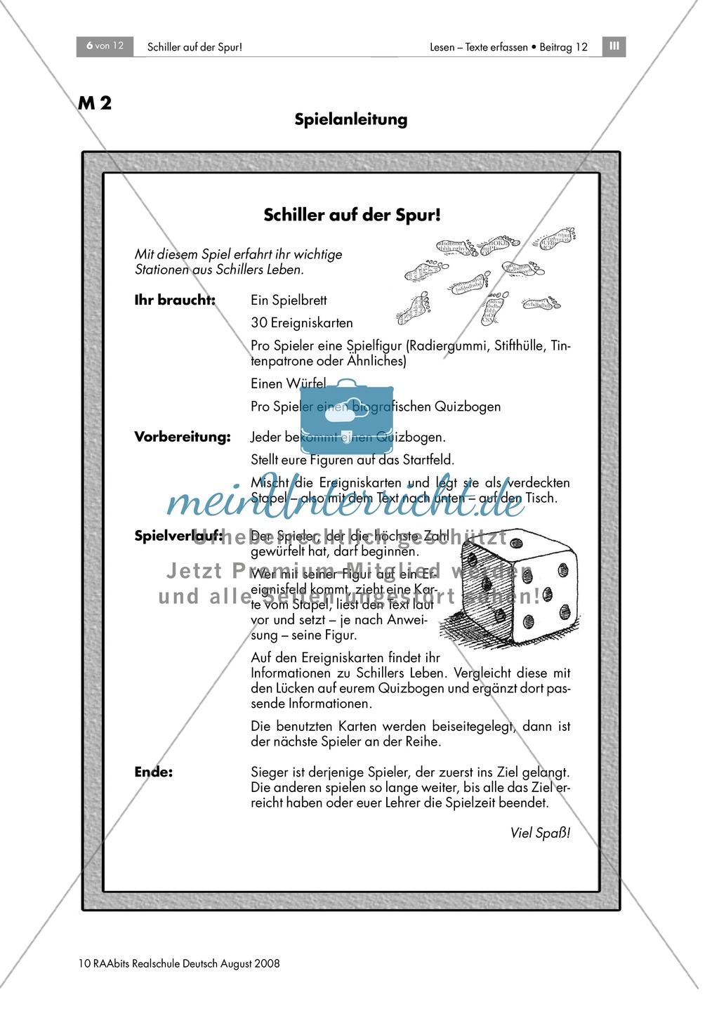 Schiller auf der Spur: Ein Brettspiel zur Biografie des Dichters Preview 5