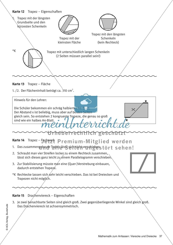 Stationenlernen zu Vierecken: Eigenschaften, Flächeninhalt, Umfang ...
