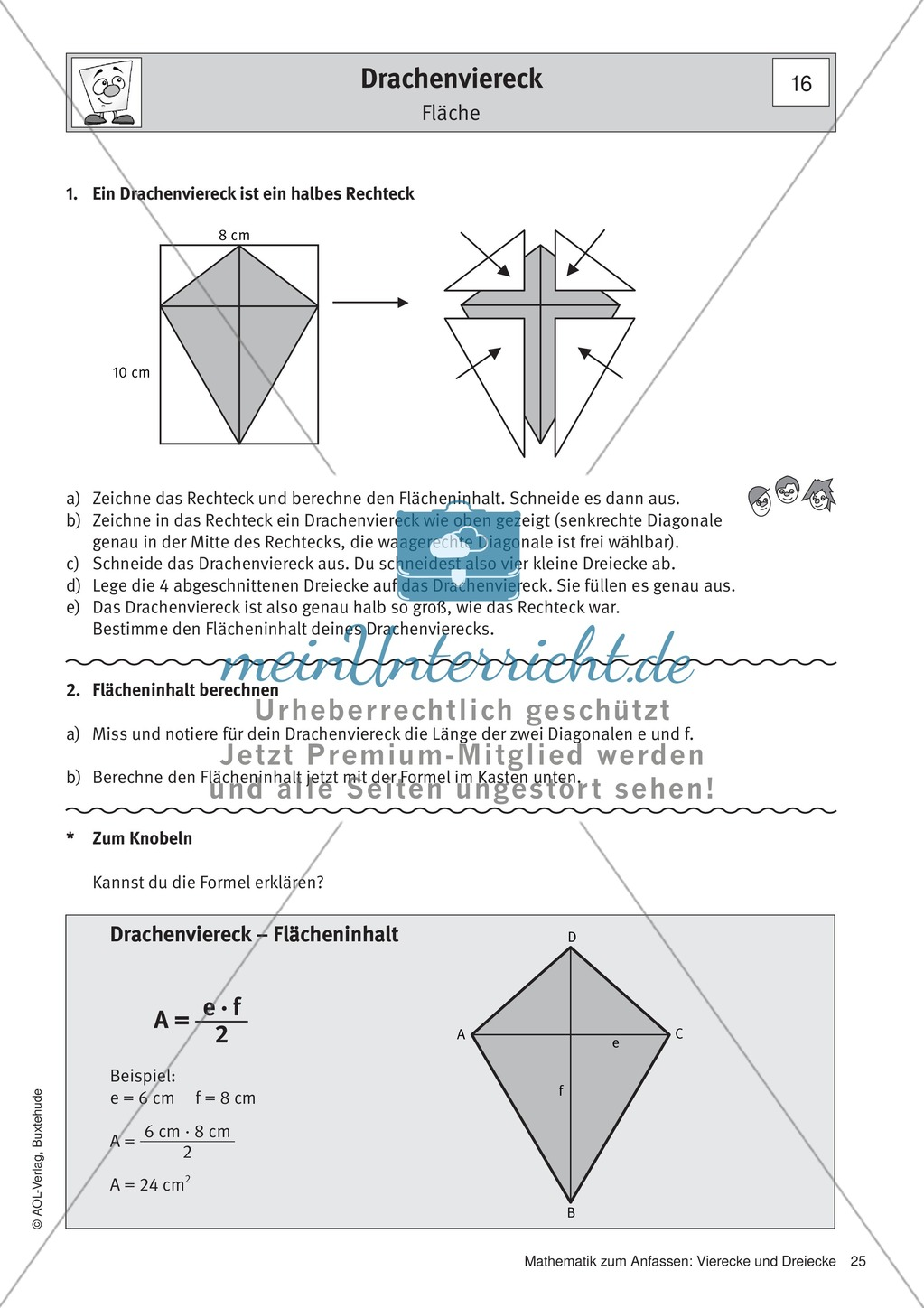 drachenviereck eigenschaften fl che beispiel. Black Bedroom Furniture Sets. Home Design Ideas