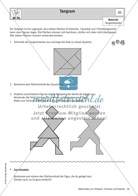 Tangram: Beispiele und Ausschneidebogen - meinUnterricht