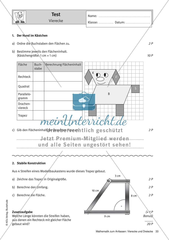 Test zu Vierecken: Eigenschaften, Flächeninhalt und Umfang ...