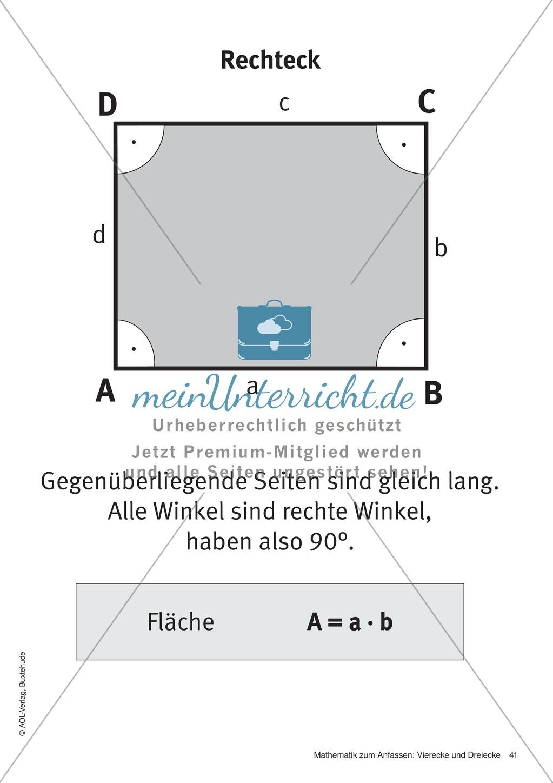 Merkblätter zu Vierecken: Flächeninhalte und Umfang - meinUnterricht