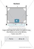 Merkblätter zu Vierecken:  Flächeninhalte und Umfang Preview 2