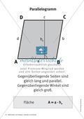 Merkblätter zu Vierecken:  Flächeninhalte und Umfang Preview 3