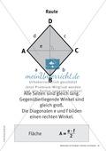 Merkblätter zu Vierecken:  Flächeninhalte und Umfang Preview 6