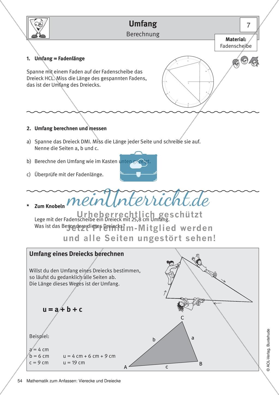 Umfang und Flächeninhalt von rechtwinkligen und allgemeinen ...