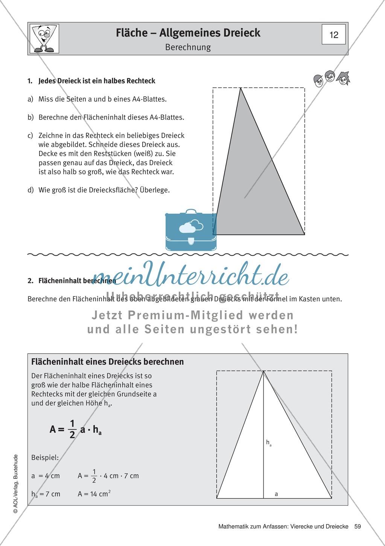 Umfang und Flächeninhalt von rechtwinkligen und allgemeinen Dreiecken Preview 6